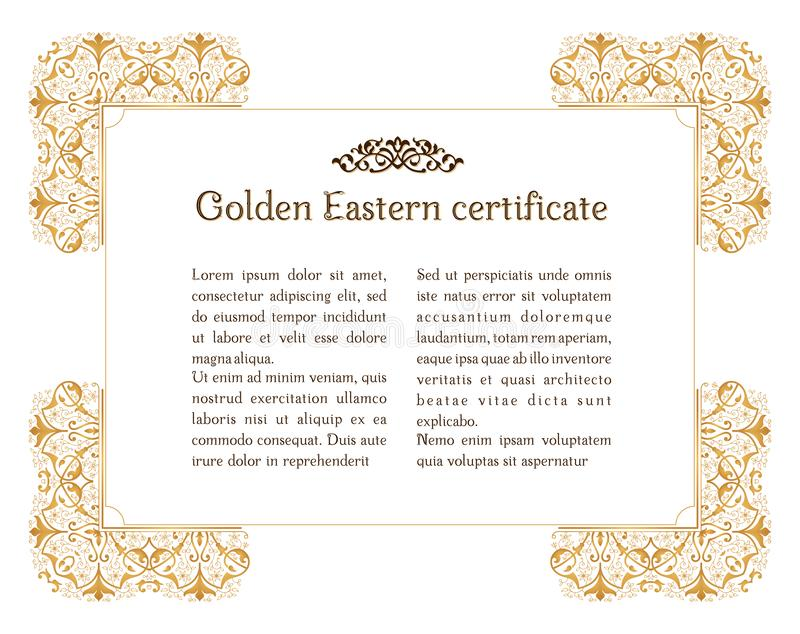 Wschodniego złocistego rocznika horyzontalna rama Wektorowi islamscy złoci elementy dla dekoracji projektują szablon ilustracja wektor