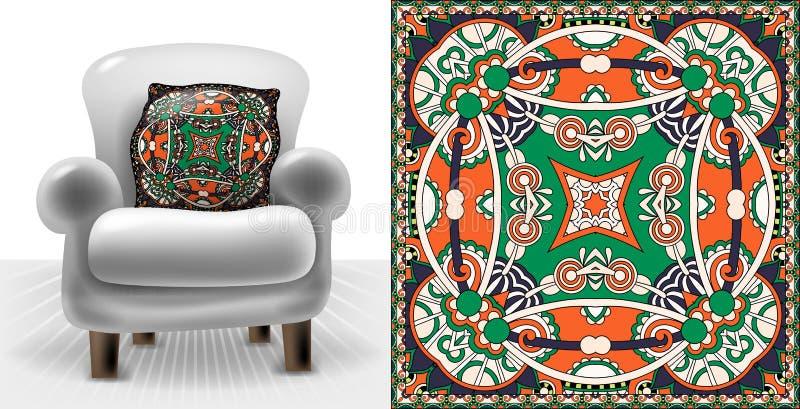 Wschodu dywanu kwadratowy wzór dla wewnętrznych poduszek ilustracji