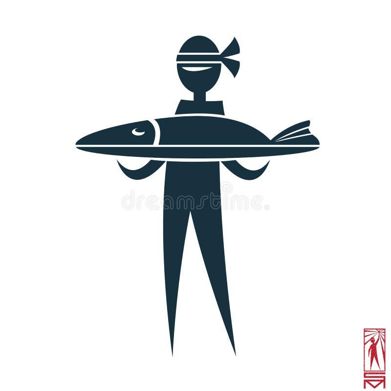 Wschodu kucharz z ryba royalty ilustracja