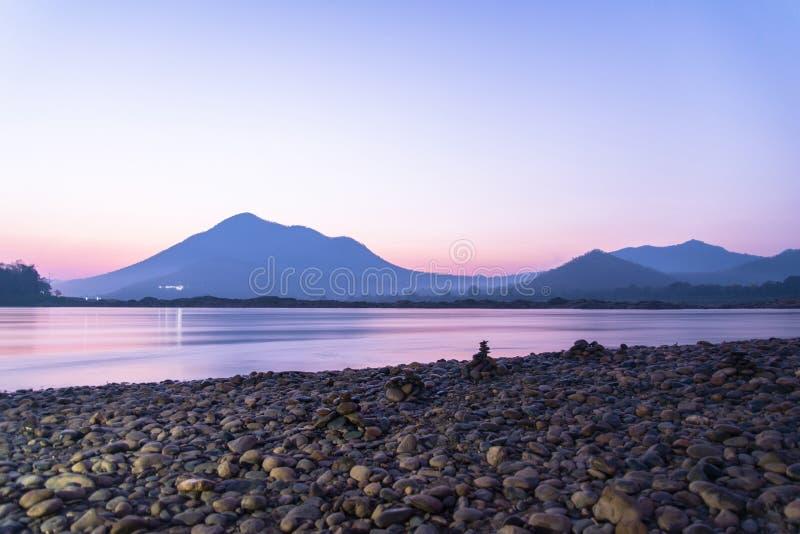Wschodu słońca Mekong rzeka fotografia stock