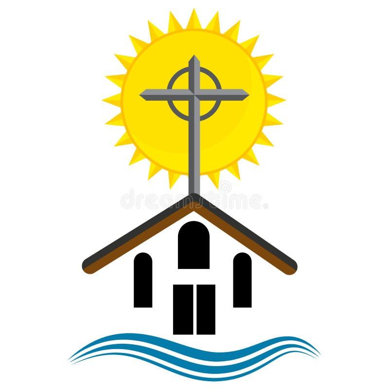 Wschodu słońca nabożeństwa kościelnego ikona ilustracji