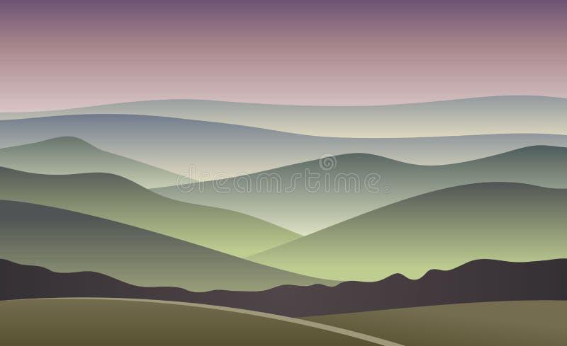 Wschodu słońca wektoru ilustracja zamazany halny tło ilustracja wektor