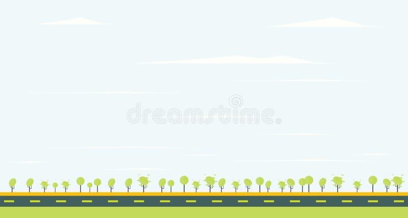 Wsi droga z zielonym drzewem i niebieskim niebem royalty ilustracja