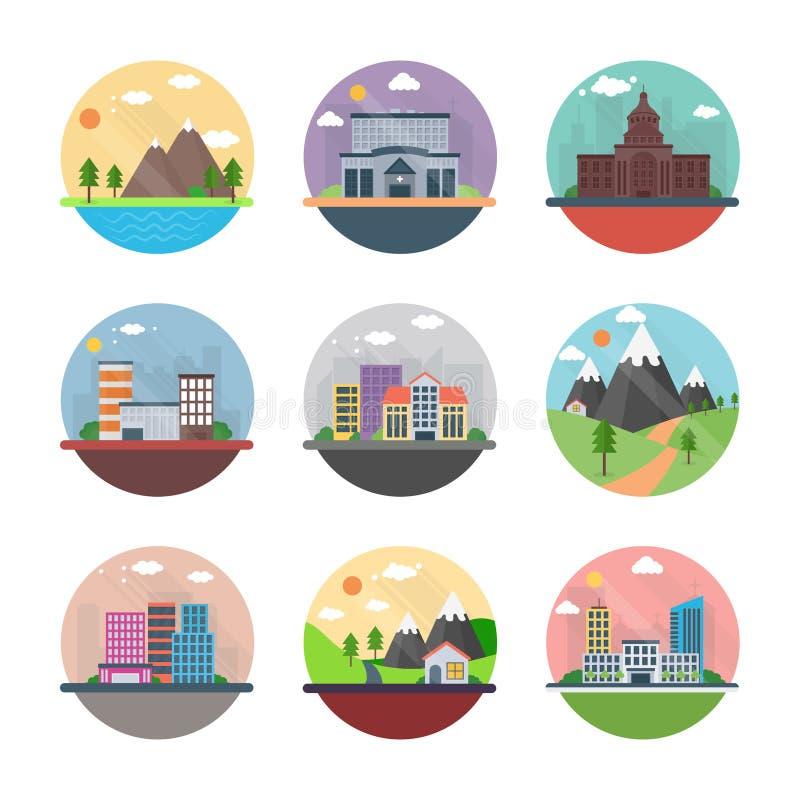 Wsi i pejzażu miejskiego mieszkania ikony royalty ilustracja