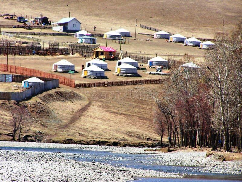 wsi mongolian jurty obraz stock