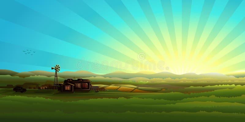 wsi ranek panorama ilustracja wektor