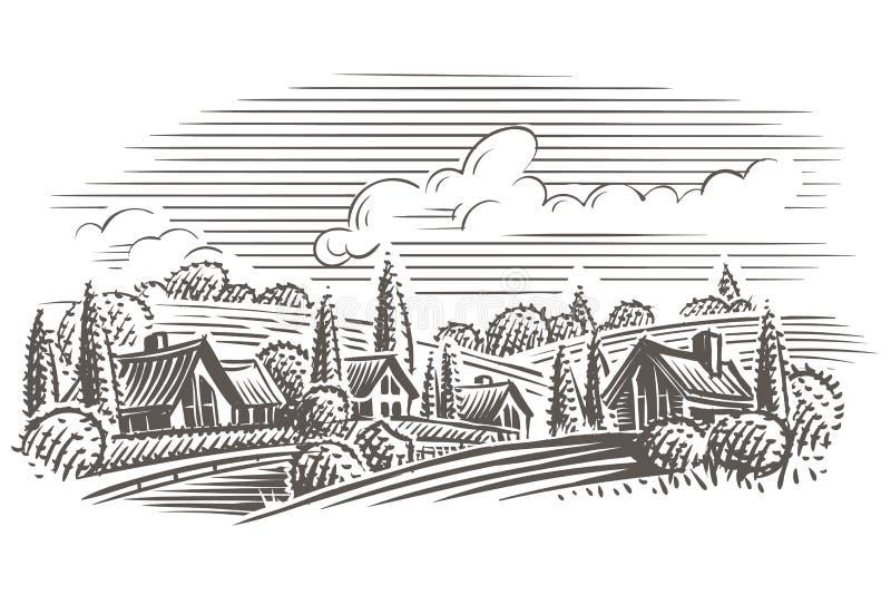 Wsi rytownictwa stylu krajobrazowa ilustracja wektor płatowaty royalty ilustracja