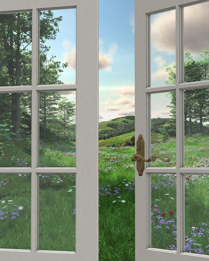 wsi widok okno ilustracja wektor
