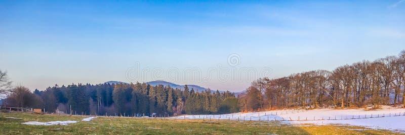 Wsi zielonego wzgórza krajobrazu sceneria z widokiem na lesie w Germany hochsauerland i górach zdjęcie stock