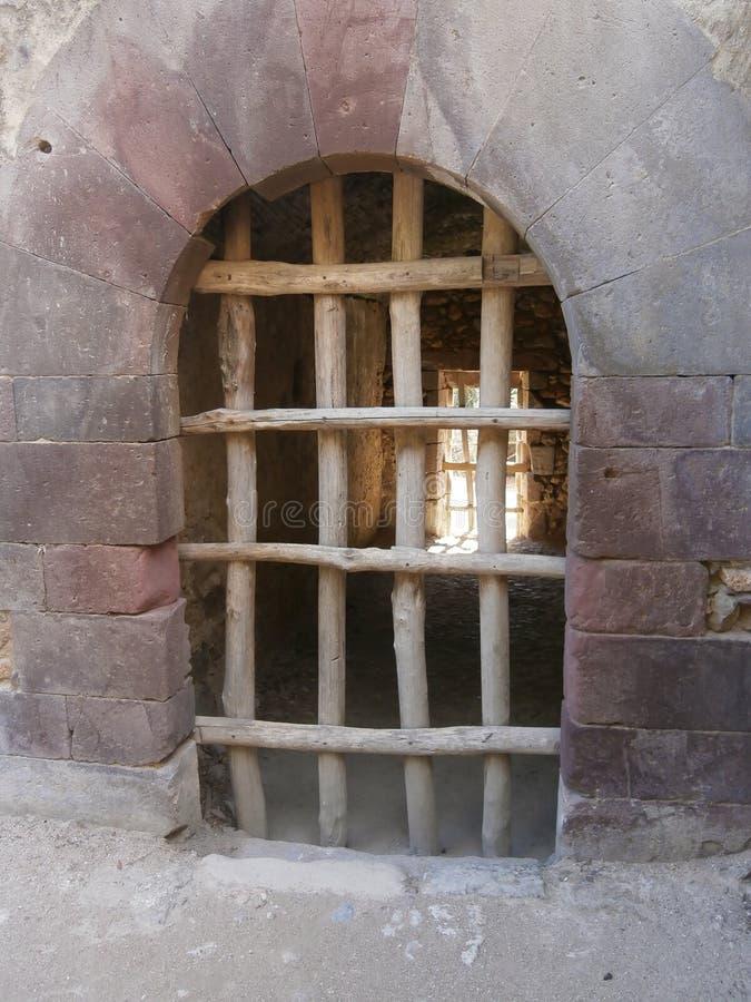 Wsiadający wejście stary kasztel w Laconi, Sardinia, Włochy zdjęcia royalty free