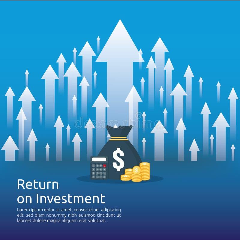 Wskaźnika rentowności ROI pojęcie biznesowe wzrostowe strzała sukces dolarowe sterta stosu monety i pieniądze torba mapa wzrosta  royalty ilustracja