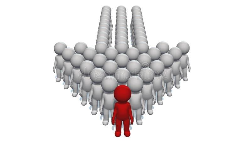 Wskaźnik strzała robić 3D ludzie z liderem przy wierzchołkiem na białym tle ilustracja wektor
