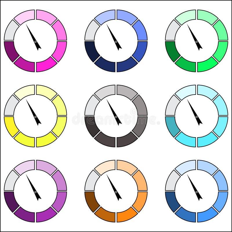 Wskaźnika koloru round set royalty ilustracja