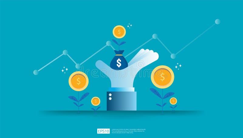 Wskaźnika rentowności ROI, zysk sposobności pojęcie biznesowe wzrostowe strza?a sukces r dolar monety rośliny pieniądze torbę na  ilustracji