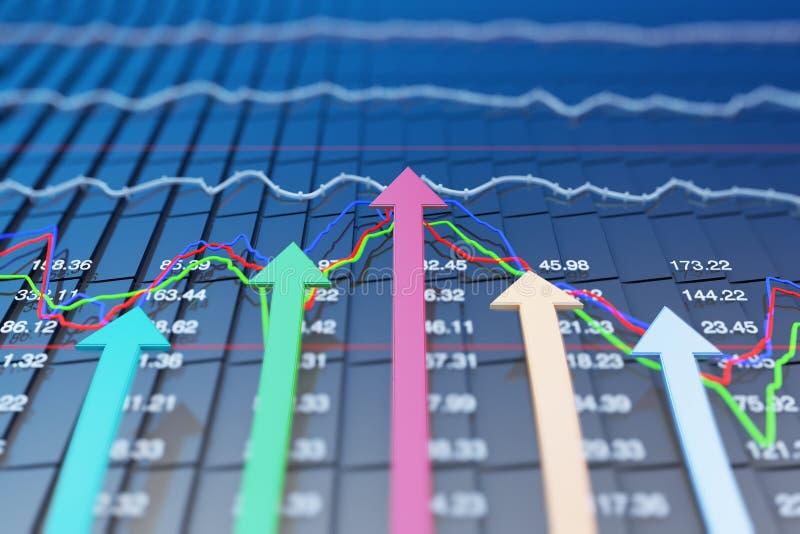 Wskaźniki ekonomiczni i ruszają się naprzód z strzała ilustracja wektor