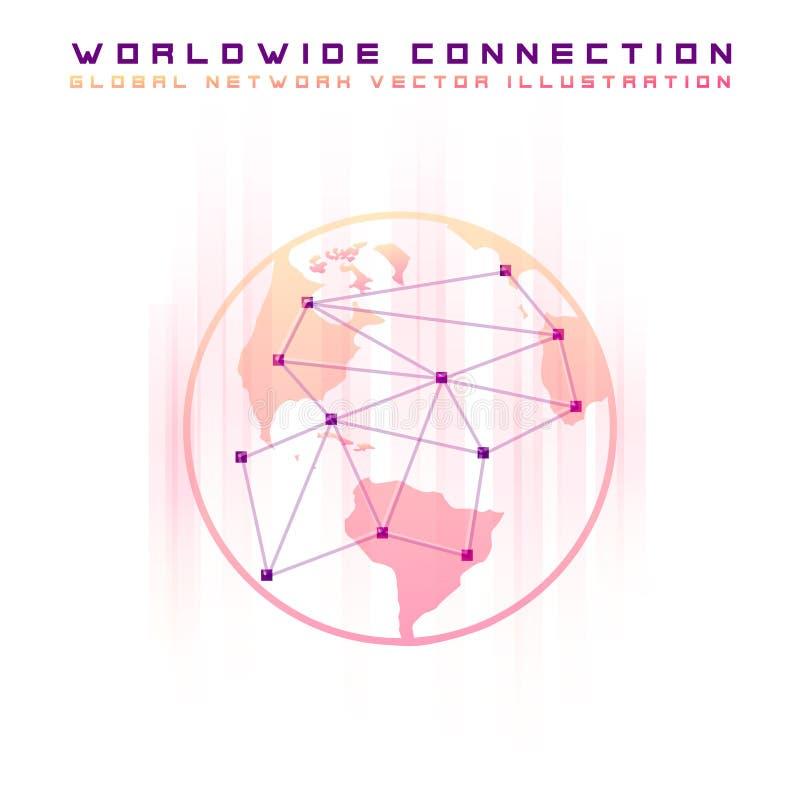 Wskazuje opanowaną światową mapę reprezentuje globalnej sieci związek i wykłada ilustracja wektor