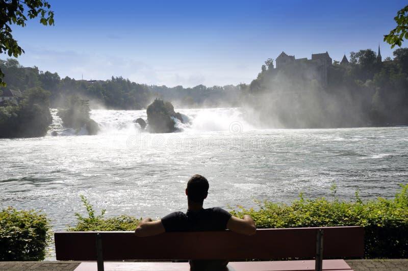 wskazuje Rhine widok siklawy obraz royalty free