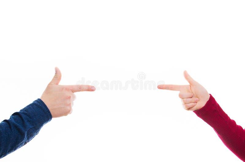Wskazywać dotyka do siebie obraz stock