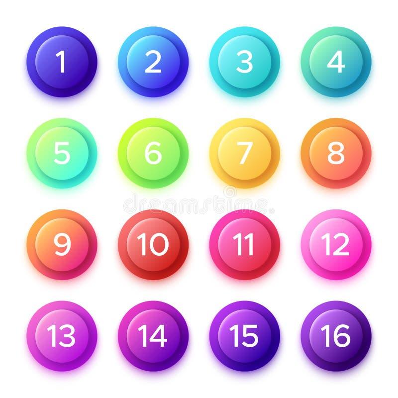 Wskazywać numerowy na gradientowej pociska guzika ikonie Kolorowy 3D okrąg zapina z punkt liczbami na balowych pociskach odizolow ilustracja wektor