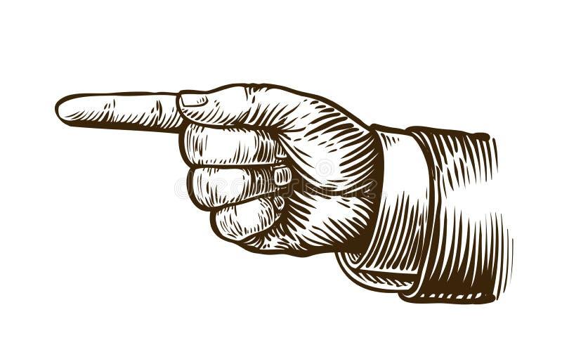 Wskazywać ręki nakreślenie Forefinger, palec wskazujący Rocznik, retro wektorowa ilustracja ilustracja wektor