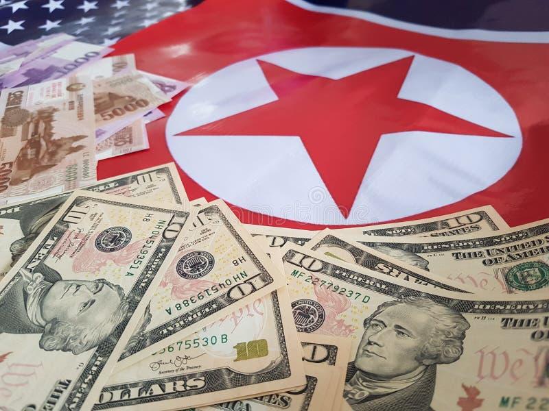 Wspólne przedsięwzięcie inwestycje między koreą północną i Stany Zjednoczone zdjęcia royalty free