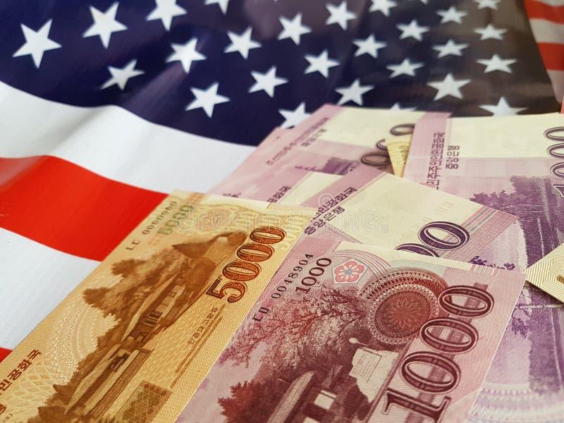 Wspólne przedsięwzięcie inwestycje między koreą północną i Stany Zjednoczone zdjęcie stock