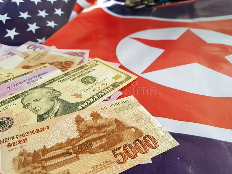 Wspólne przedsięwzięcie inwestycje między koreą północną i Stany Zjednoczone zdjęcia stock