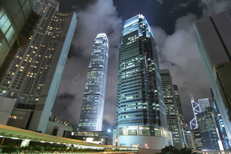 współcześni Hong kong noc drapacz chmur fotografia royalty free