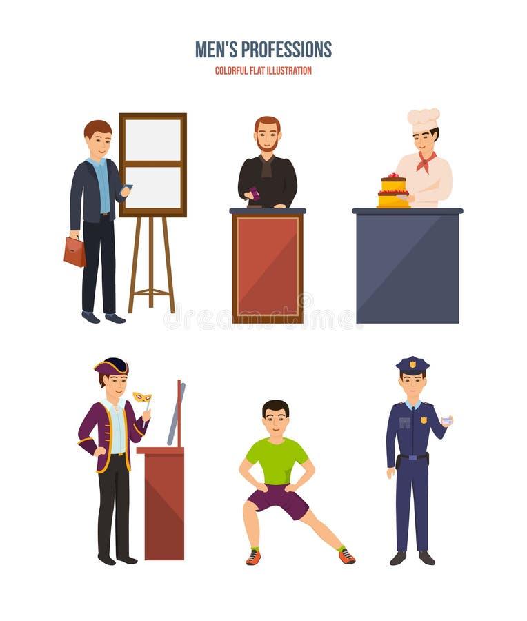 Współcześni męscy zawody: biznesmen, sędzia, kucharz, aktor, trener, policjant ilustracji