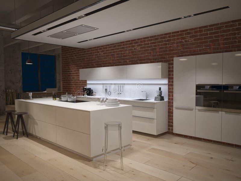 Współczesna stalowa kuchnia w nawracający przemysłowym fotografia stock