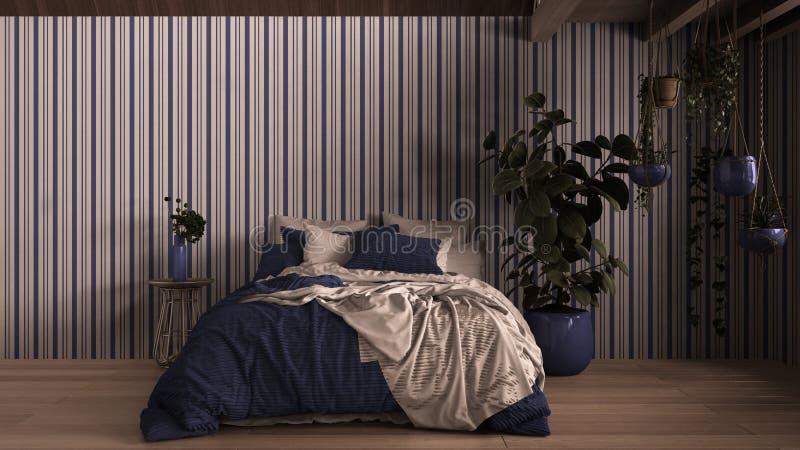 Współczesna sypialnia, parkiet, drewniana podłoga, ściany gipsowe Łóżko miękkie z poduszkami, kocem i kołdrą, stolik nocny fotografia royalty free