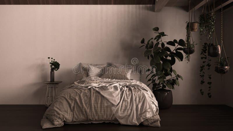 Współczesna sypialnia, parkiet, drewniana podłoga, ściany gipsowe Łóżko miękkie z poduszkami, kocem i kołdrą, stolik nocny zdjęcia royalty free