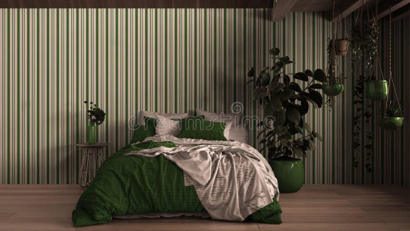 Współczesna sypialnia, parkiet, drewniana podłoga, ściany gipsowe Łóżko miękkie z poduszkami, kocem i kołdrą, stolik nocny royalty ilustracja