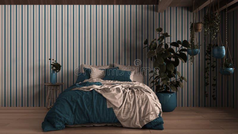 Współczesna sypialnia, parkiet, drewniana podłoga, ściany gipsowe Łóżko miękkie z poduszkami, kocem i kołdrą, stolik nocny ilustracja wektor