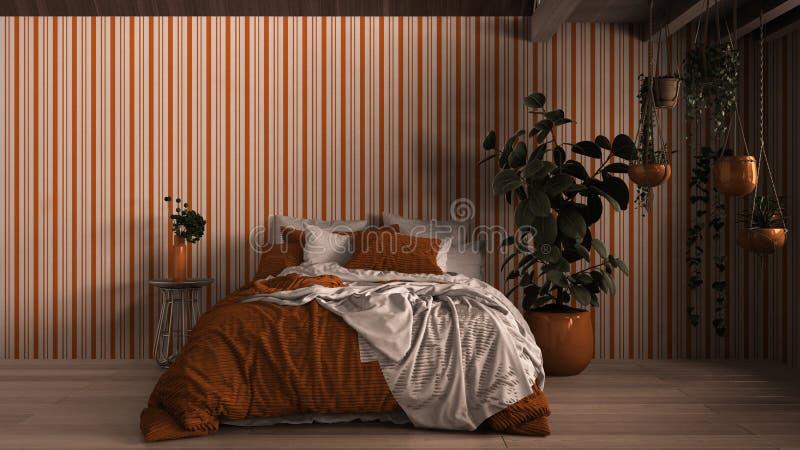 Współczesna sypialnia, parkiet, drewniana podłoga, ściany gipsowe Łóżko miękkie z poduszkami, kocem i kołdrą, stolik nocny ilustracji