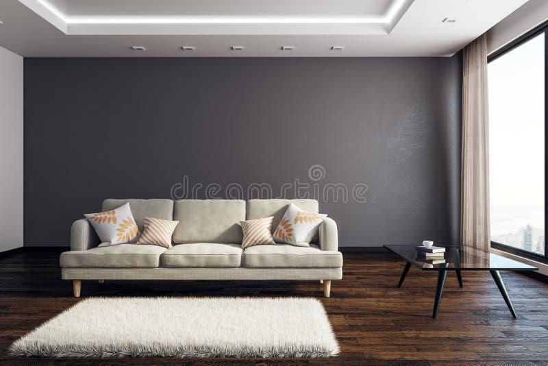Współczesny żywy izbowy wnętrze z copyspace royalty ilustracja