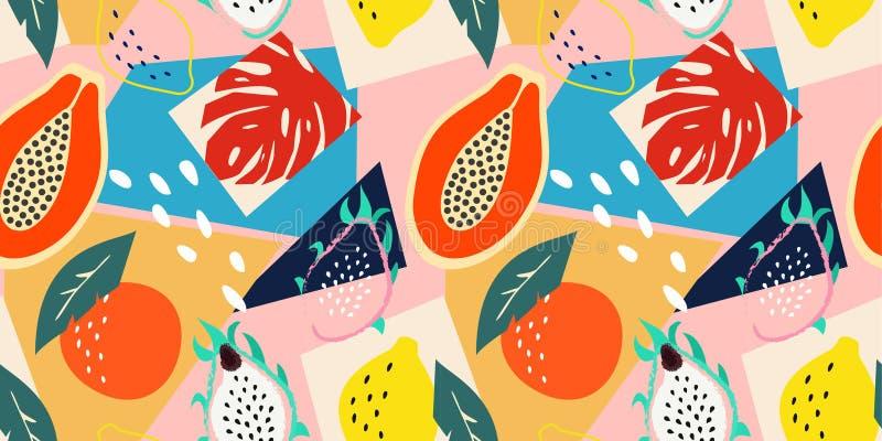 Współczesny abstrakcjonistyczny kwiecisty bezszwowy wzór Nowożytne egzotyczne tropikalne owoc i rośliny Wektor barwiący projekt ilustracja wektor