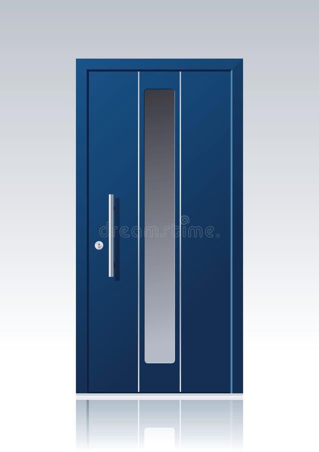 Współczesny błękitny wektorowy dzwi wejściowy royalty ilustracja