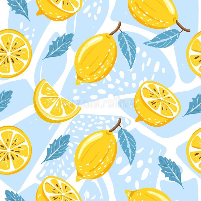 Współczesny bezszwowy wzór z cytryną, cytryna plasterkiem, nowymi liśćmi i abstrakcjonistycznym elementem, ilustracja wektor