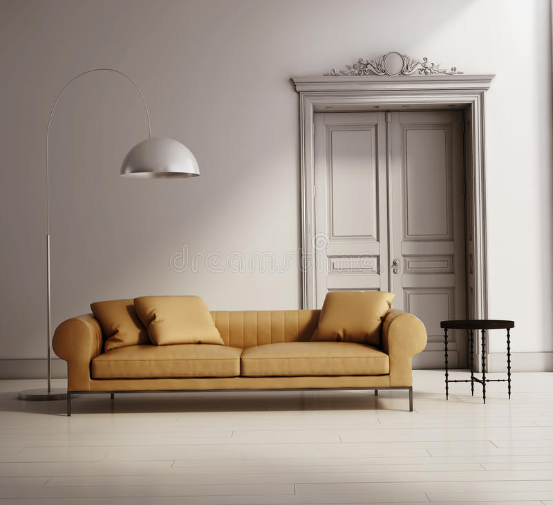 Współczesny klasyczny żywy pokój, beżowa rzemienna kanapa ilustracja wektor