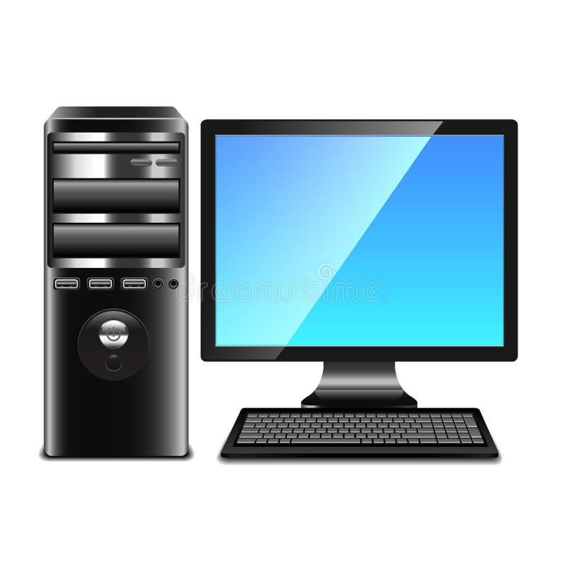 Współczesny komputer odizolowywający na białym wektorze ilustracji