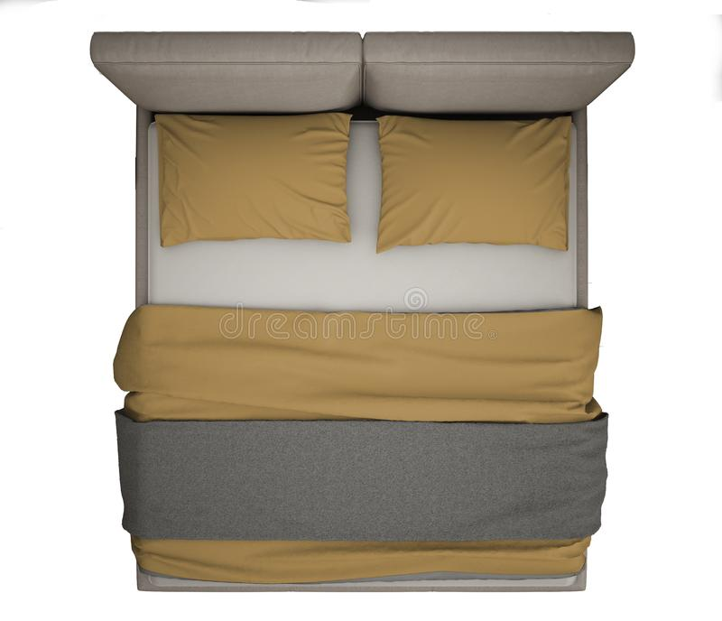 Współczesny nowożytny dwoisty łóżko, odgórny widok odizolowywający na, białym tła, szarość i koloru żółtego wnętrzu, fotografia stock