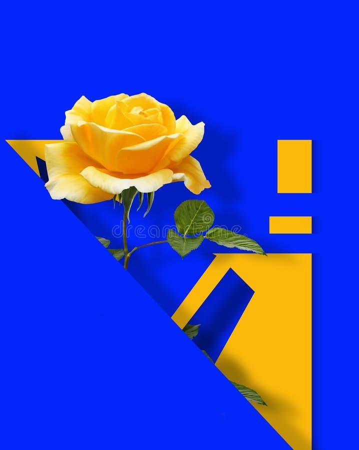 Współczesny sztuka współczesna plakat z kolor żółty różą na błękitnym abstrakcjonistycznym tle royalty ilustracja