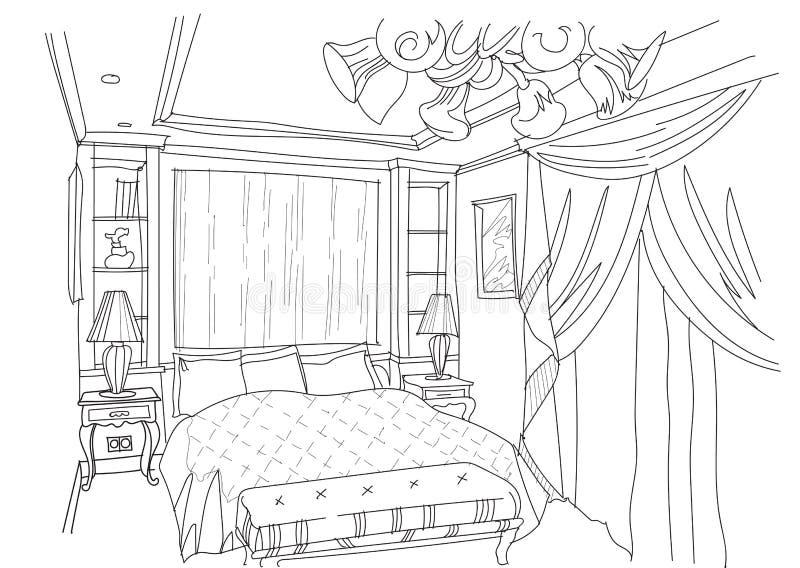 Współczesny wnętrze doodles sypialnię ilustracja wektor