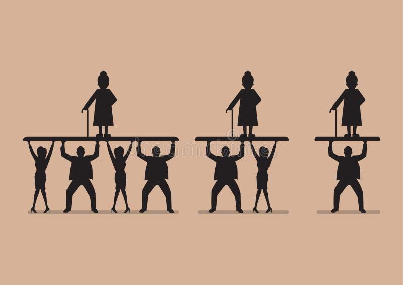 Współczynnik pracownicy emeryci w sylwetce ilustracja wektor