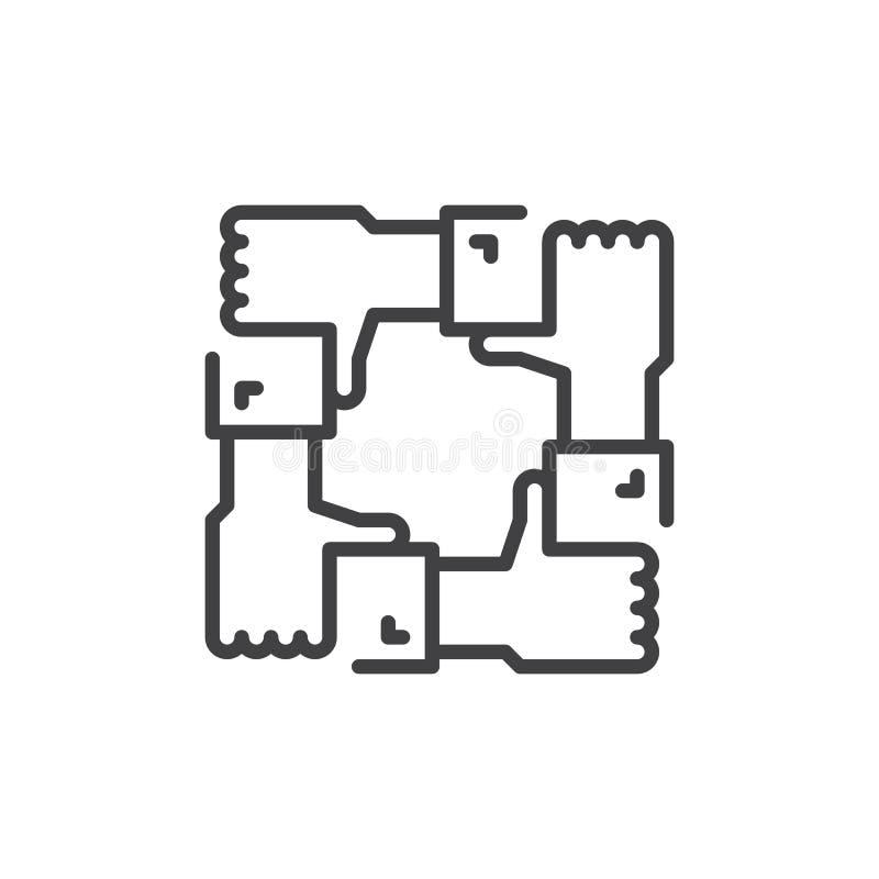 Współpraca ręk linii ikona, konturu wektoru znak, liniowy stylowy piktogram odizolowywający na bielu Rodzinny poparcie symbol, lo royalty ilustracja