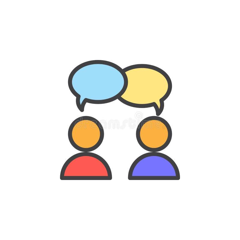 Współpraca, rozmowa wypełniająca kontur ikona, kreskowy wektoru znak, liniowy kolorowy piktogram ilustracja wektor