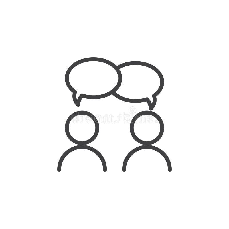 Współpraca, rozmowy kreskowa ikona, konturu wektoru znak, liniowy stylowy piktogram odizolowywający na bielu royalty ilustracja