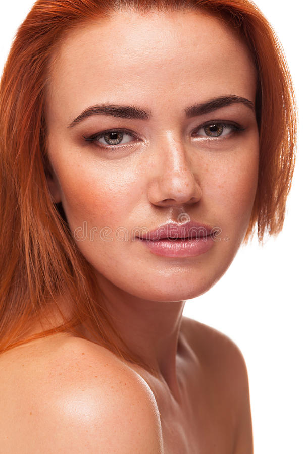 Wspaniała czerwieni głowa z naturalnym uzupełniał fotografia royalty free