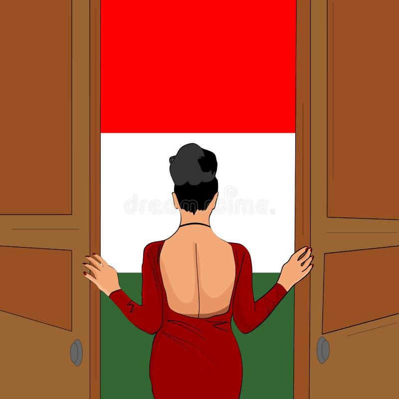 Wspaniała dziewczyna otwiera drzwi Włochy Powitanie Włochy ilustracji